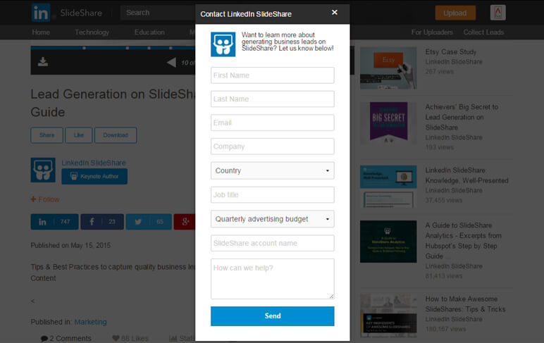 Reklama SlideShare: formularz do pozyskiwania leadów