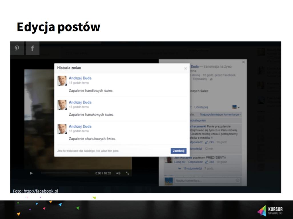 Edycja postów - prezentacja Pawła Badury. Kursor Na Marketing.