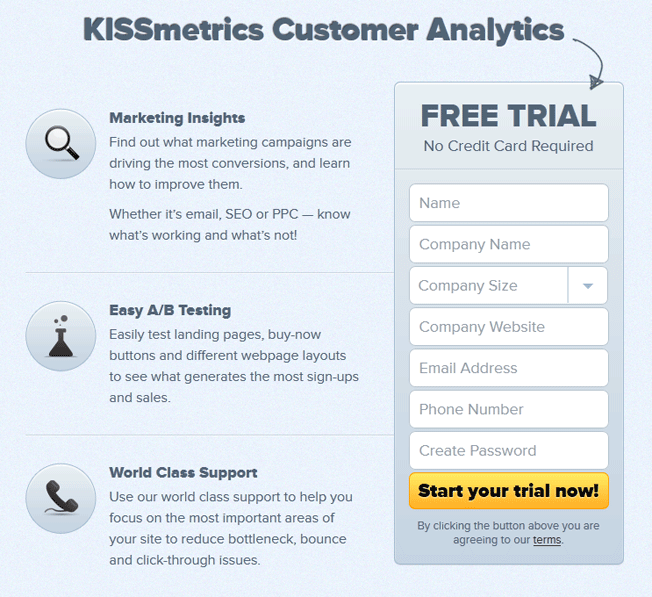 kissmetrics landing zamiast thank you page