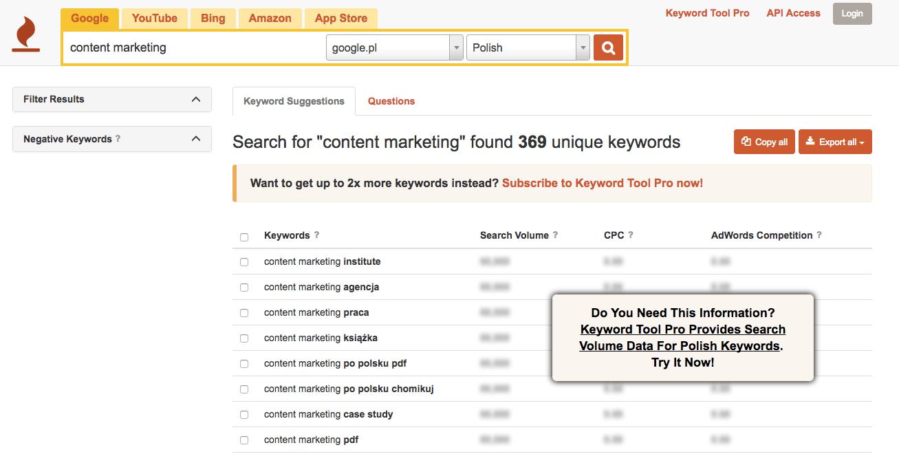 Keyword Tool - słowa kluczowe