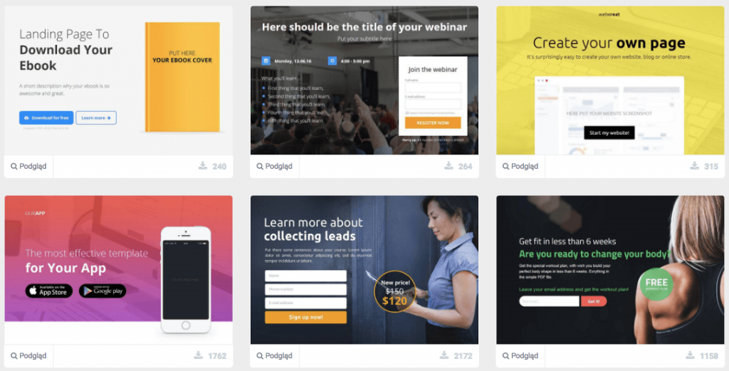 one page, landing page