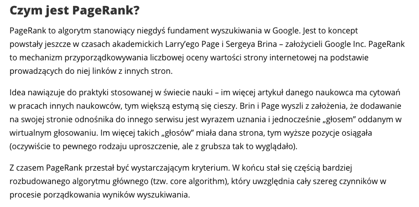 co to jest page rank